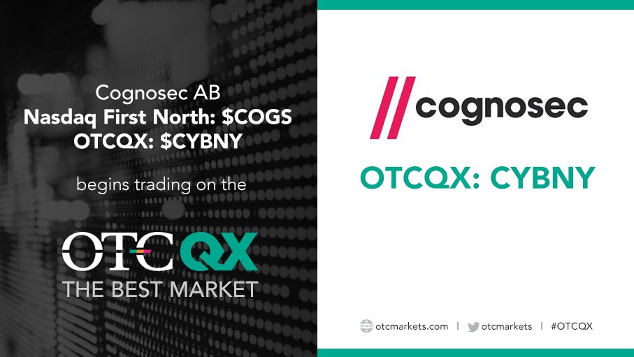 Cognosec AB @Cognosec (Nasdaq First North: $COGS; OTCQX: $CYBNY), a leading supplier of cyber security solutions, begins trading today on the #OTCQX Best Market. Find current financial disclosure and #RealTime Level 2 quotes at http://bit.ly/2IBJdyS