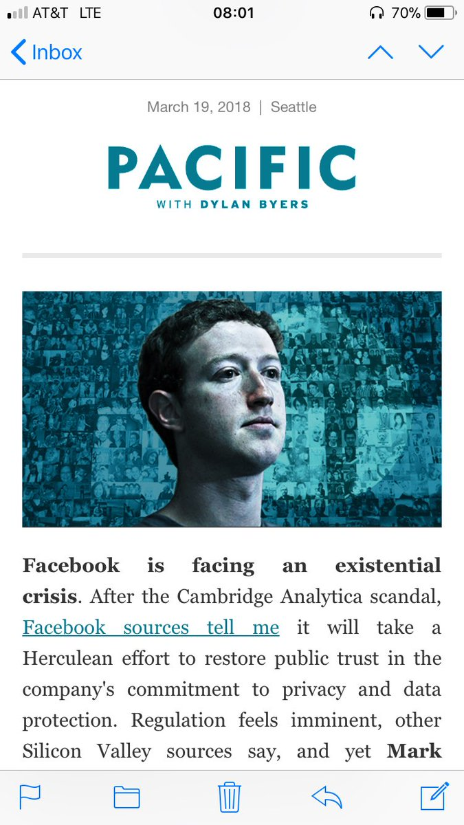 """""""If protecting data was truly at the heart of Facebook's business, Facebook wouldn't be in business.""""  That and more in today's PACIFIC..."""