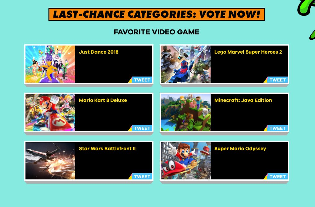 Hey gamers! Which video game would you pick to win a blimp at #KCA? Vote at https://t.co/iWbsReMtQA or use Twitter hashtags! 🎮