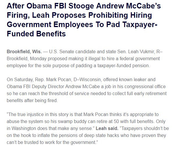McCabe firing is becoming grist in the Wisconsin Senate race after @MarkPocan's job offer.