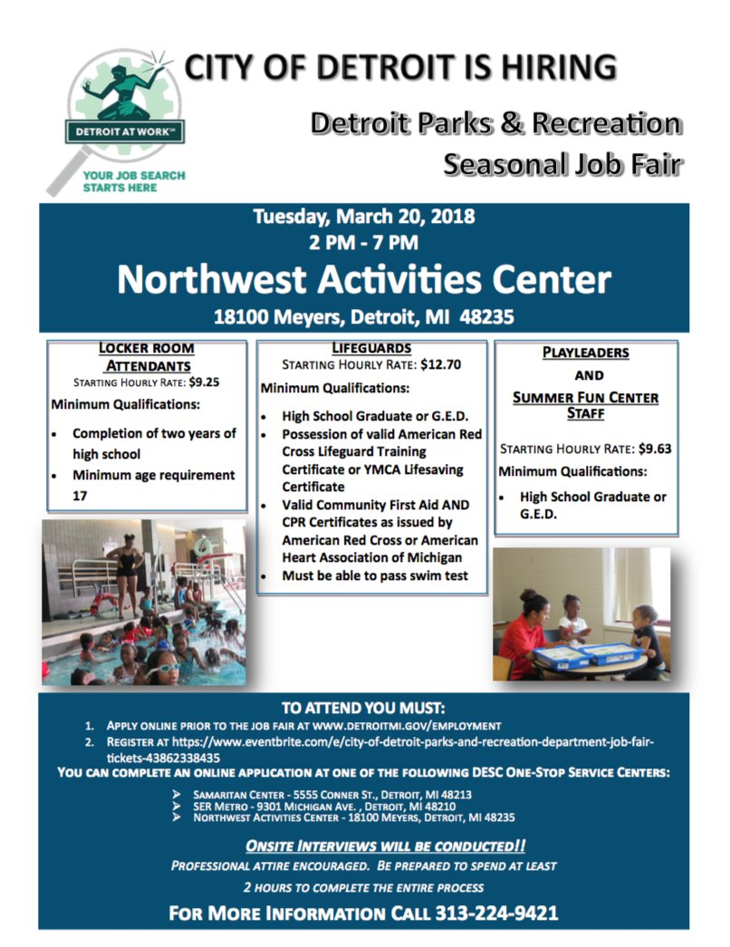 City Of Detroit On Twitter Detroitparksrec Is Hosting A Seasonal