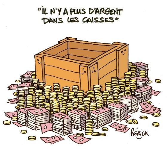 Il faut 'réformer' la SNCF, geler le salaire des fonctionnaires, réduire les APL... parce qu'il n'y a plus d'argent dans les caisses.  Et pourtant de l'argent il y en a.  À quand la #JusticeFiscale ?  #ISF #flattax #EvasionFiscale Dessin de Pierick