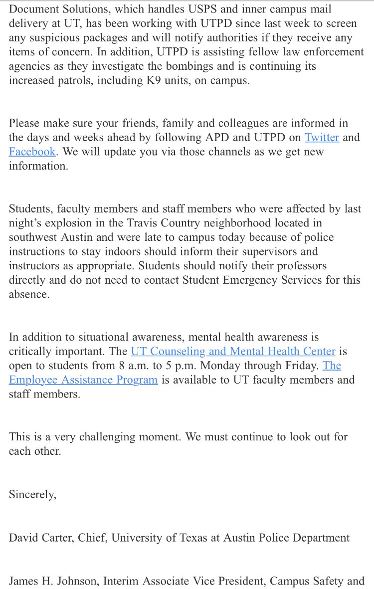 New: @UTAustinPolice remind the @UTAustin community to stay vigilant and informed in the wake of recent bombings in Austin. If you see something, call 911.