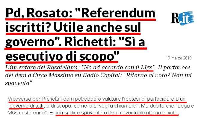"""#rosato: «no ad un accordo col #M5S».#richetti: «sì ad ipotesi Governo di tutti».Questi manco si parlano e poi frignano se la gente non li """"ha capiti""""!  - Ukustom"""