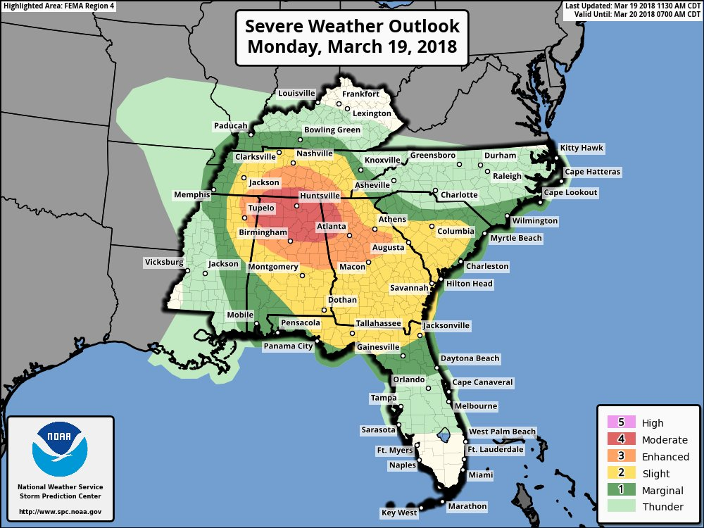 An increasing threat for tornadoes this afternoon across northern AL and parts of TN, GA, and MS has lead to an upgrade to a Moderate risk from @NWSSPC. If you live in these areas, monitor local NWS offices and media partners for updates as these storms develop this afternoon