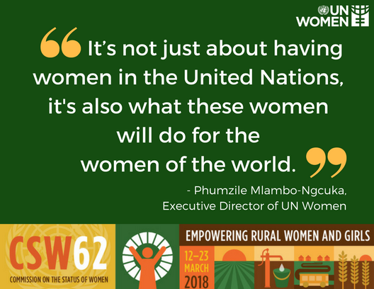 The @UN needs to lead by example. -- @phumzileunwomen at #CSW62.  Let's join forces & make gender equality a lived reality for ALL. The  for#TimeIsNow a .#Planet5050