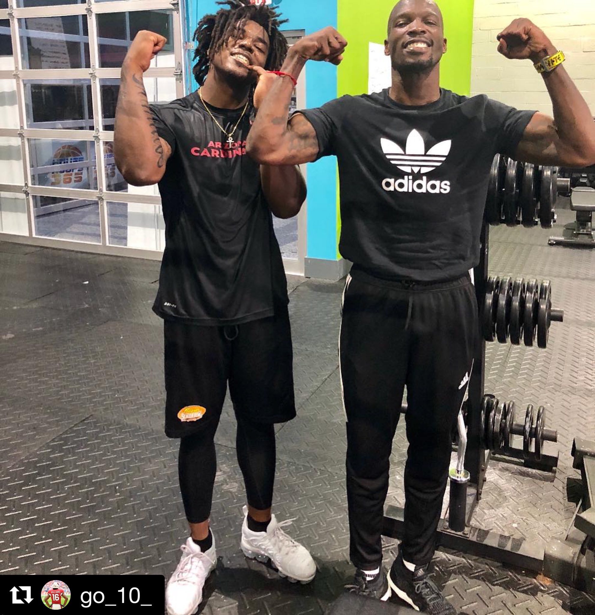 Two Chads working out: Chad Williams + Chad @ochocinco!   [Via @go_10_ on Instagram] https://t.co/ClMXgUh7jq