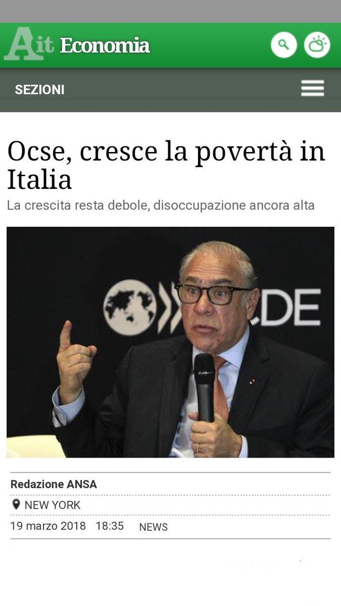 """•19/03/18, #OCSE: """"allarme #povertà in Italia, la crescita resta debole e la disoccupazione ancora alta"""".•29/10/17, #renzi: """"il #PD ha portato il Paese fuori dalla crisi"""".Indovina chi racconta palle.  - Ukustom"""