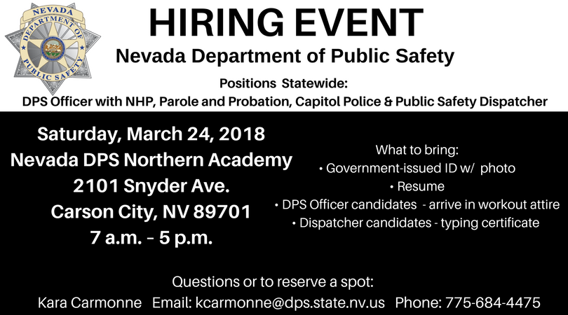 Nevada Dps On Twitter Nevadadps Is Hiring Lawenforcement We