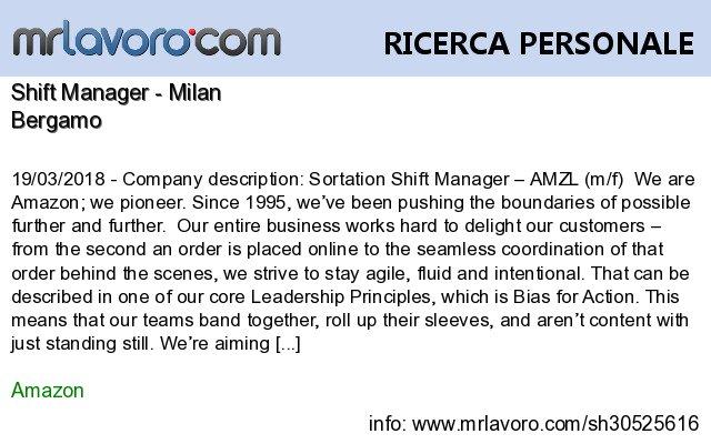 Nuove offerte di #lavoro #Bergamo:Shift Manager - MilanInfo:  https:// www.mrlavoro.com/tw30525616  - Ukustom