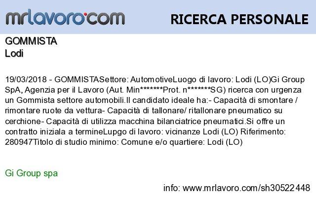 Nuove offerte di #lavoro #Lodi:GOMMISTAInfo:  https:// www.mrlavoro.com/tw30522448  - Ukustom