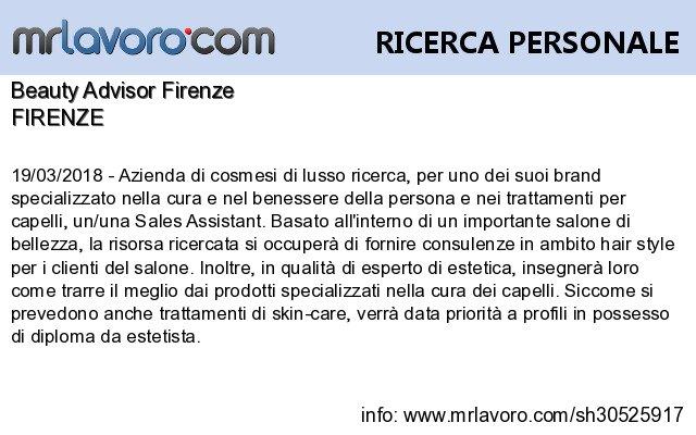 Nuove offerte di #lavoro #Firenze:Beauty Advisor FirenzeInfo:  https:// www.mrlavoro.com/tw30525917  - Ukustom