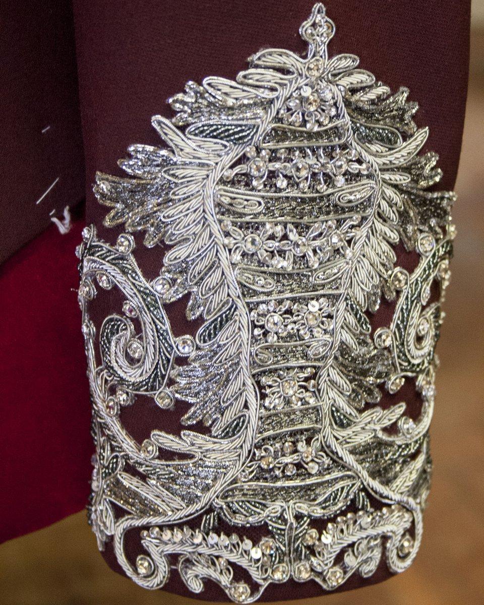 In the atelier: the Alexander McQueen bespoke bordeaux wool silk jacket with silver embroidered cuffs worn by  on tour in Antwerp.     #SeeninMcQueen #HarryStyles #LiveOnTour #AlexanderMcQueen