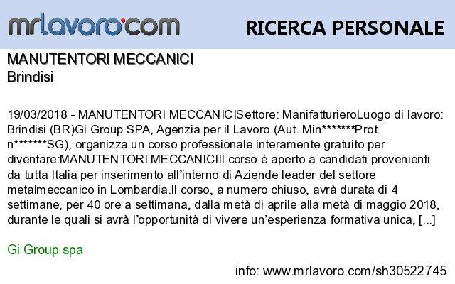 Nuove offerte di #lavoro #Brindisi:MANUTENTORI MECCANICIInfo:  https:// www.mrlavoro.com/tw30522745  - Ukustom