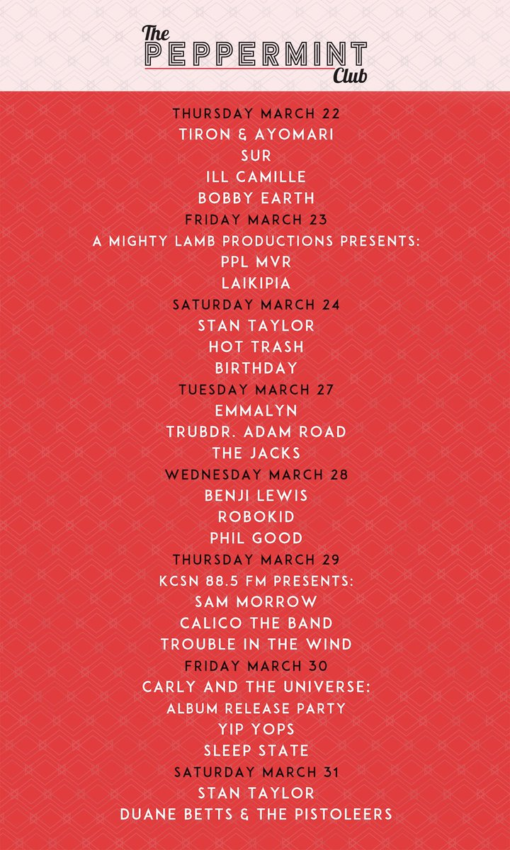 The next two weeks of music at #ThePeppermintClub. Get your tickets: bit.ly/2tXtoPy.