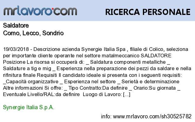 Nuove offerte di #lavoro #Como:SaldatoreInfo:  https:// www.mrlavoro.com/tw30525782  - Ukustom