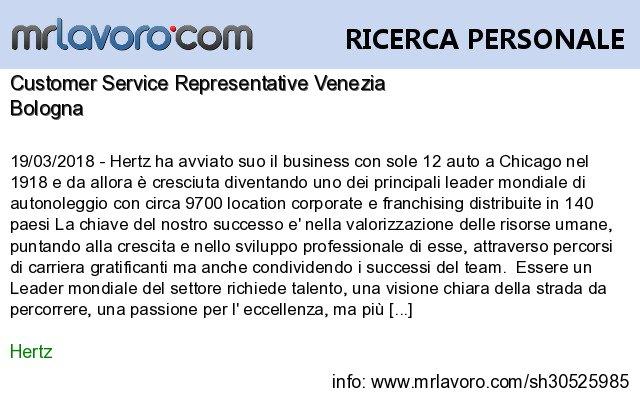 Nuove offerte di #lavoro #Bologna:Customer Service Representative VeneziaInfo:  https:// www.mrlavoro.com/tw30525985  - Ukustom