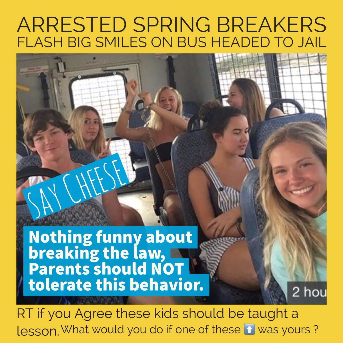 Arrested spring breakers flash big smiles on bus headed to jail - if one of these characters were yours - what would you do ? #TuesdayThoughts #SpringBreak fxn.ws/2prjBMd #FoxNews #WednesdayWisdom