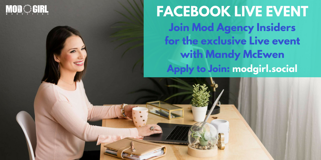Our founder & CEO @MandyModGirl has an exciting announcement to share – exclusively for our #Facebook community, Mod Agency Insiders.  Apply to join our group of #mktg entrepreneurs today to tune in to the FB Live event: https://t.co/4czsYzpdR5