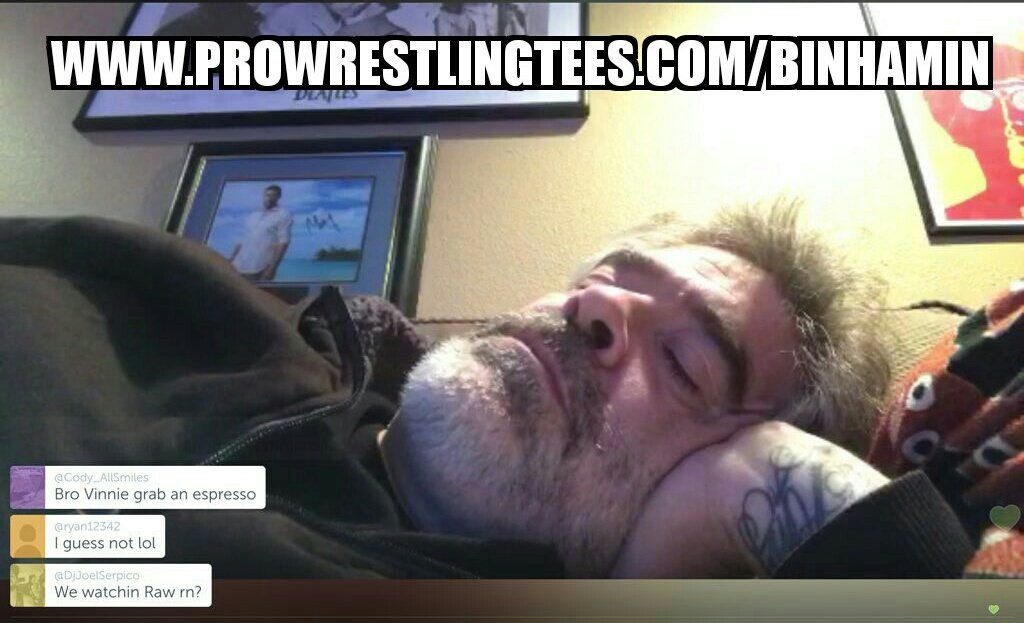 SSSSHHHH DONT WAKE HIM... @THEVinceRusso IS #DREAMING ABOUT ALL THE SHIRTS AT prowrestlingtees.com/binhamin #RAW #SDLive