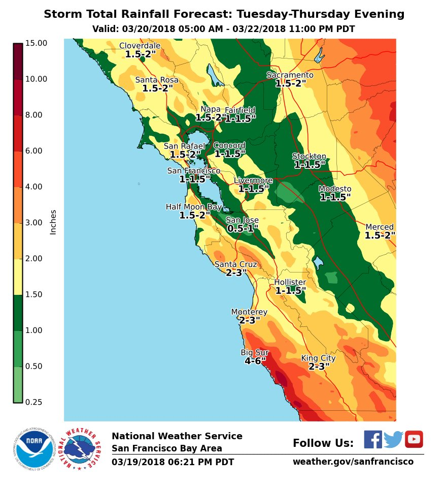 storm total rainfall forecast california march 20 - 22