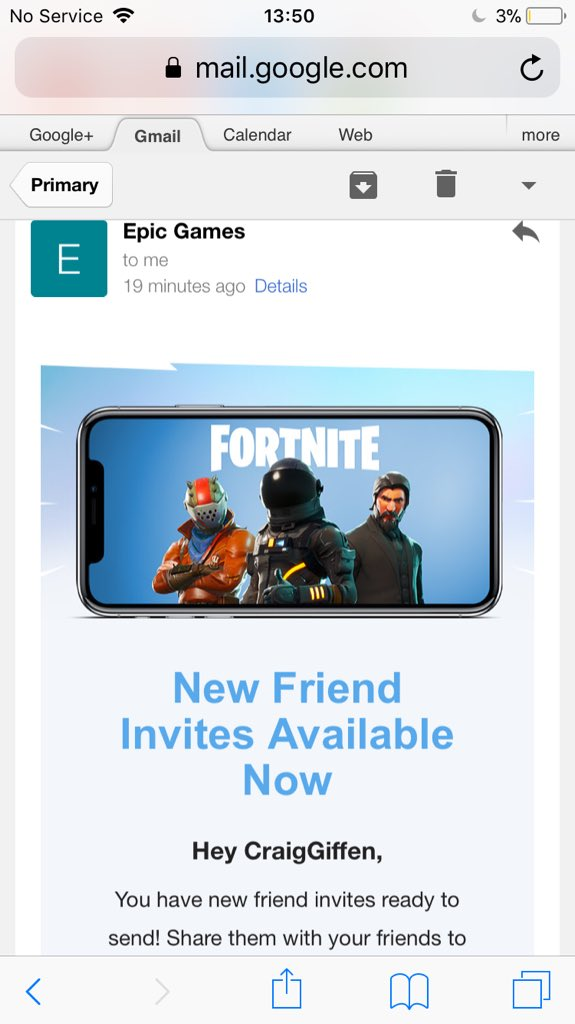 follow me rt and like this tweet for a free fortnite mobile code i ll send dm post invite link on my profile so make sure to turn on your - invite email fortnite