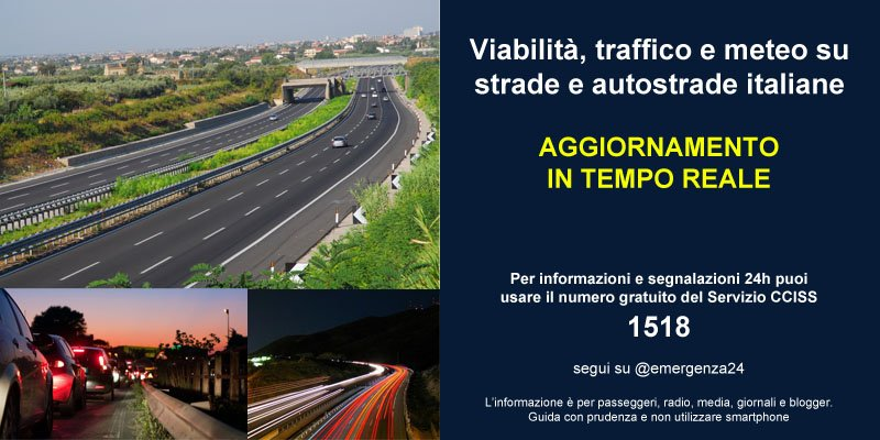 [20.03-04:00] #Italia aggiornamenti in tempo reale su #VIABILITA\