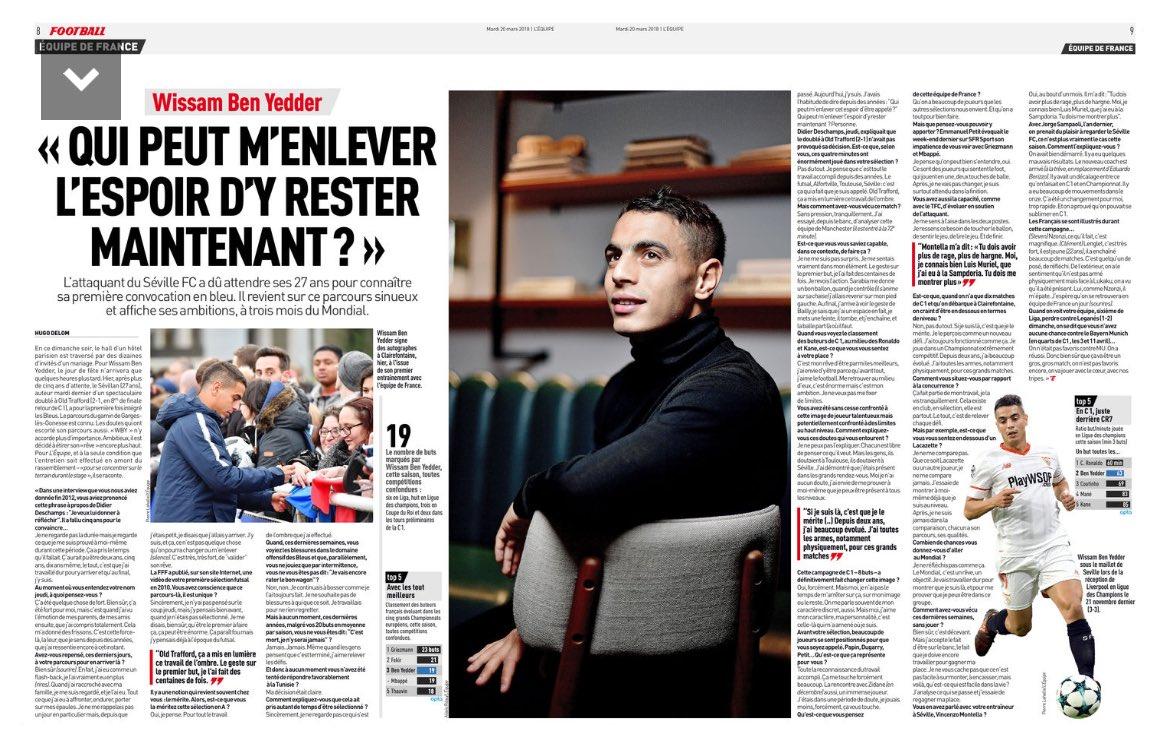 Wissam Ben Yedder en LEquipe. Traduzco lo que dice del Sevilla👇