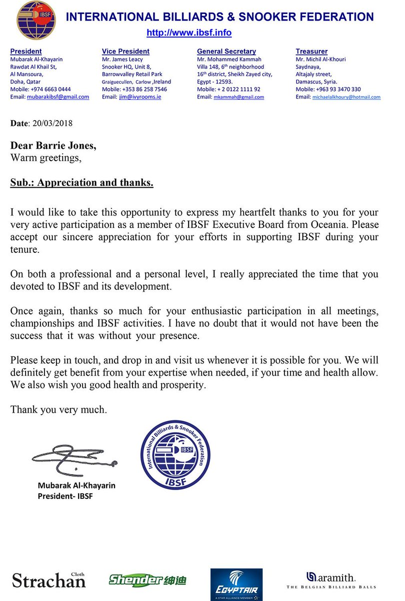 Ibsf On Twitter Thanksgiving Letter From Ibsf President To