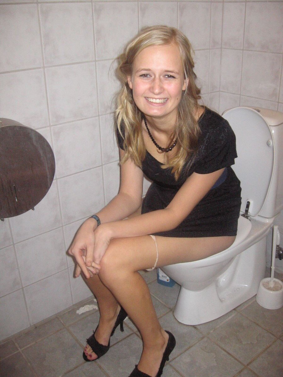 Remarkable blonde girl peeing on toilet think