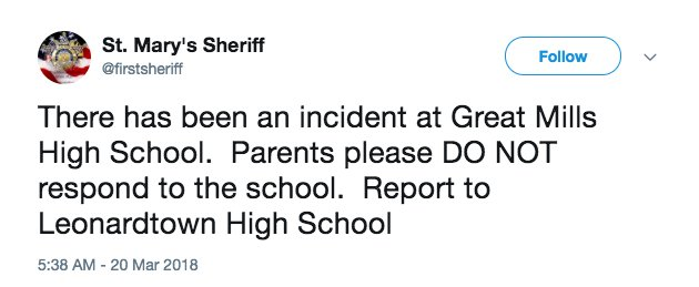 #BREAKING: School shooting reported in Maryland https://t.co/obX9c2R4qI