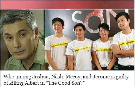 """The road to finding out the answer to the viewers' lingering question will take more unexpected turns as the Kapamilya top-rating series """"The Good Son"""" approaches its finale. READ MORE HERE: bit.ly/2pq1xTw"""