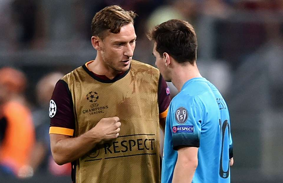 Francesco Totti: I am glad that Roma faces Barcelona in the UCL. I watch all of Messis games because my son is in love with him. I promised I would take him to the Camp Nou to meet Messi one day, and now I can.