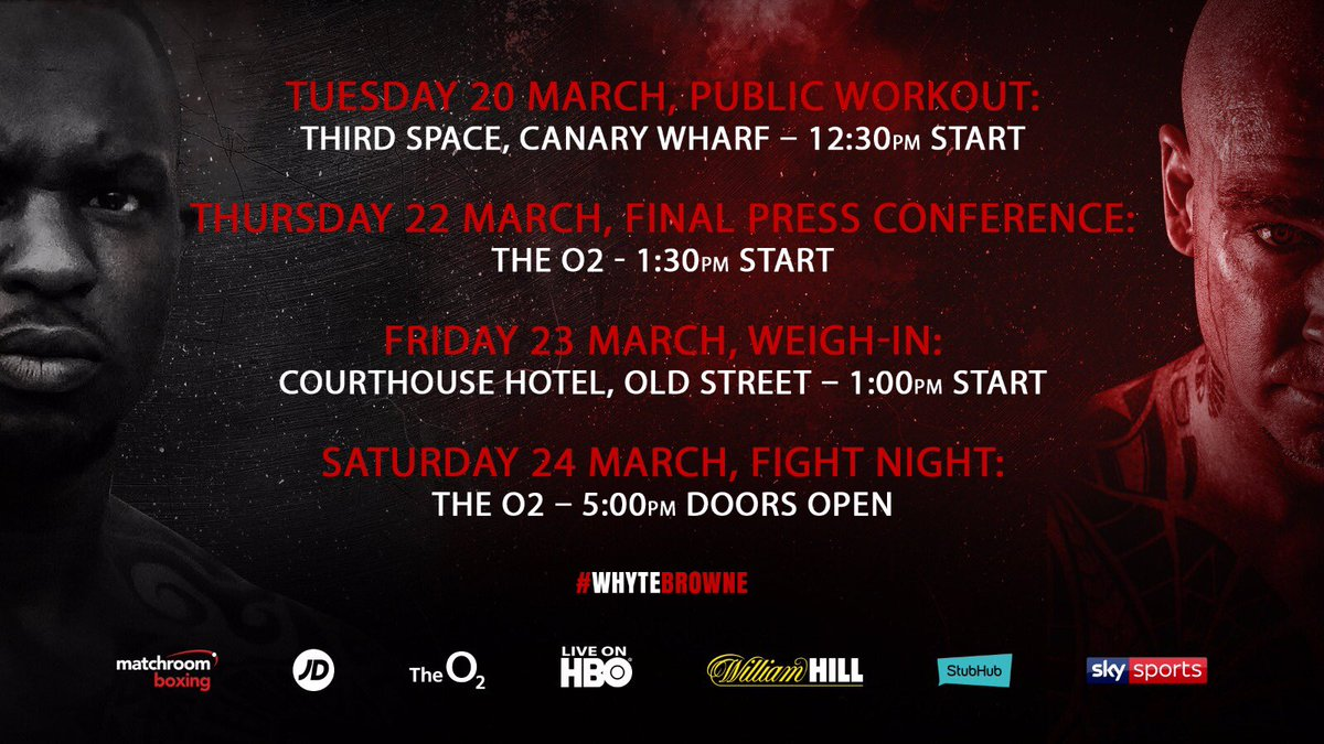 Join us for the #WhyteBrowne workouts today - 12.30pm Third Space, Canary Wharf - see you there! 👊🏼