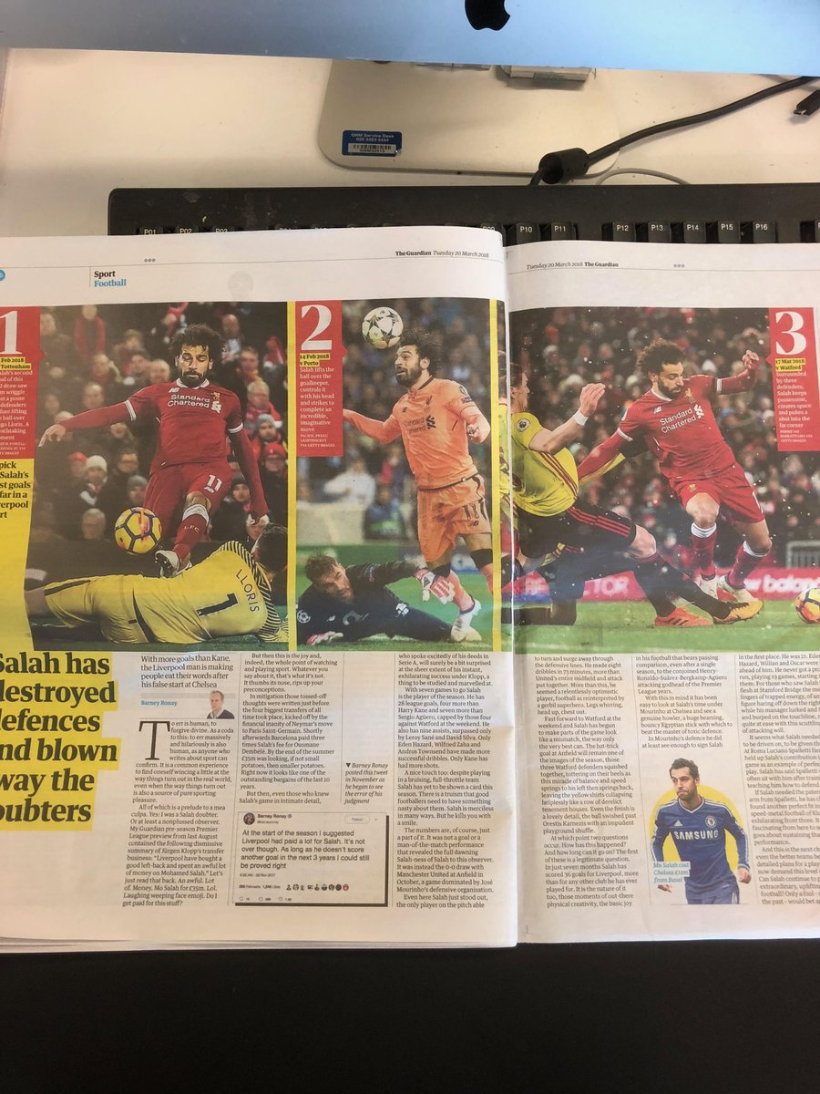 Had to come up with a picture spread to go alongside @barneyronay piece on Mo Salah in today's Guardian. Decided, with help of @GreggBakowski, to illustrate his best three goals for Liverpool so far. It was tough, but we got there: