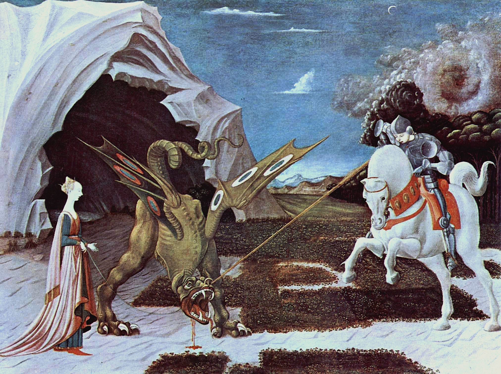 uccello saint george and the dragon essay Paolo uccello, st george and the dragon, ca 1440 paolo uccello, st george and the dragon ca 1460-1470 the first two paintings in this convergence are two versions of the same scene: st george and the dragon, both by the 15th-century italian painter paolo uccello uccello painted the first.