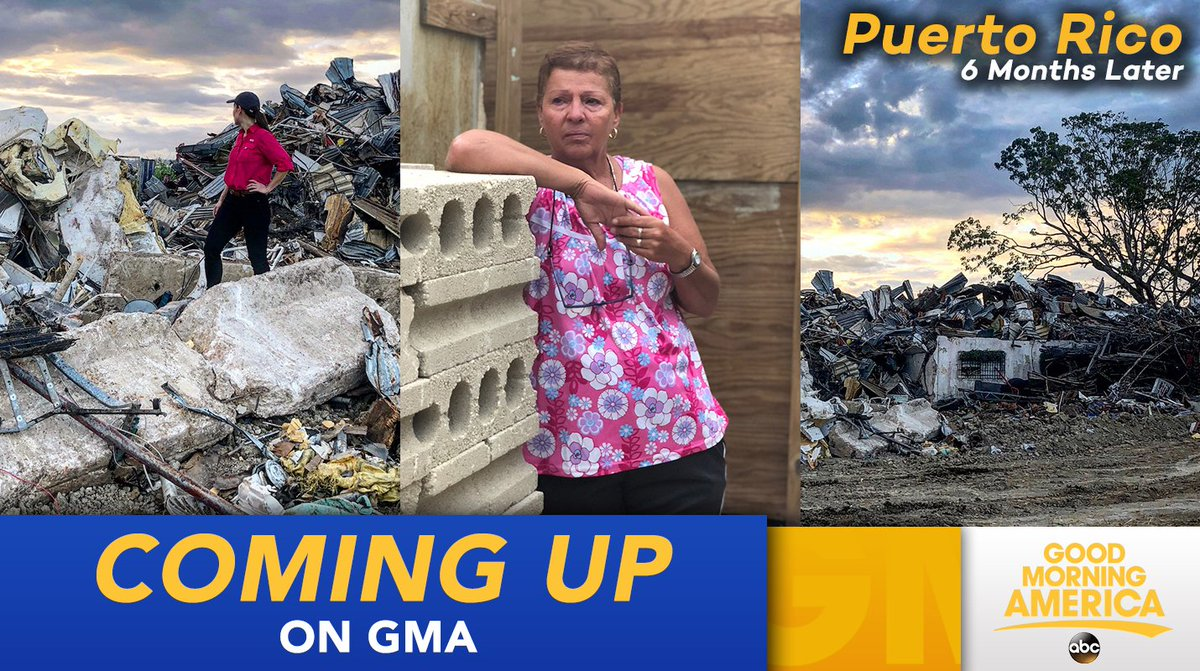 6 MONTHS later, the message is clear - Puerto Rico still needs our help. We take you there THIS MORNING, where our @EvaPilgrim has been on the ground for days. Their road to recovery is long but they have not been forgotten ❤️🇵🇷   📷: @igstorres / ABC