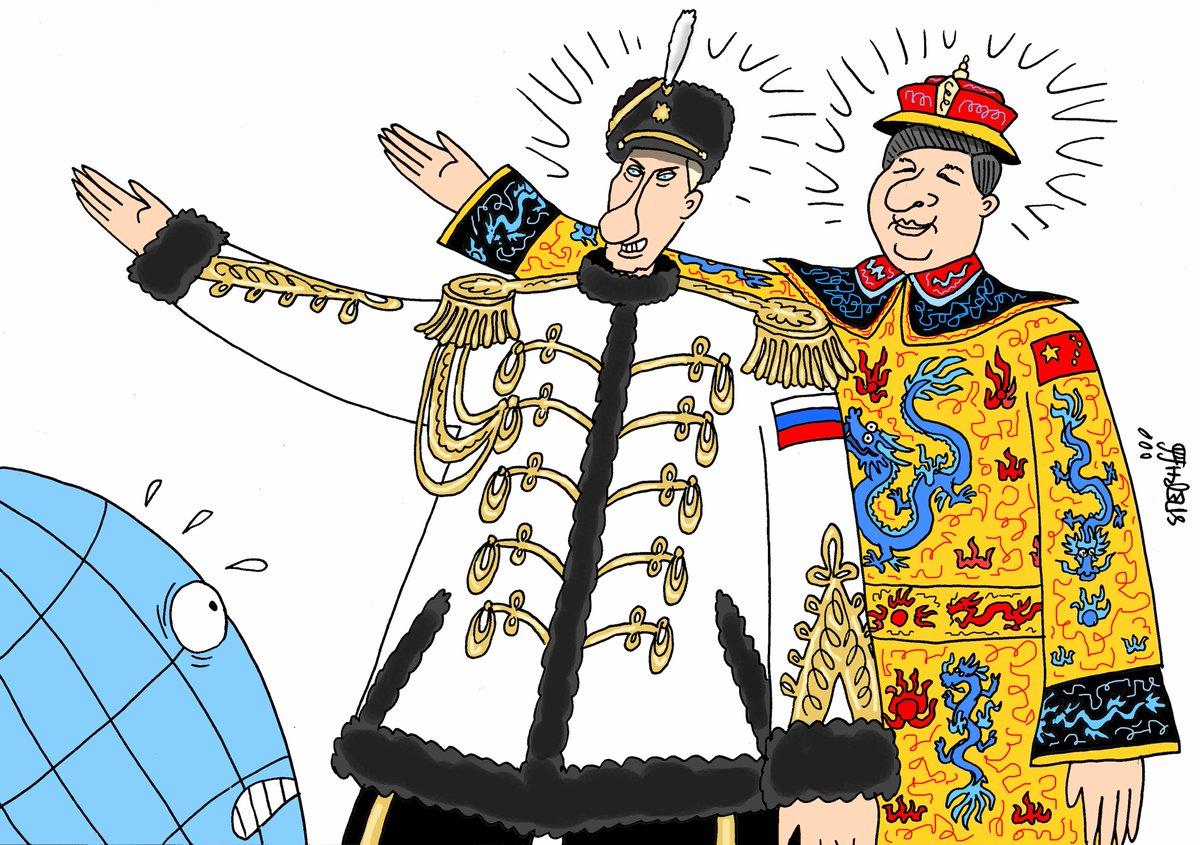 карикатура Путин и Си цзин Пин