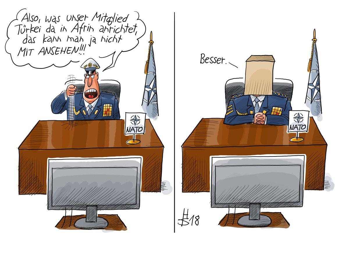 Die #NATO will in #Afrin nicht länger tatenlos zusehen - unsere Karikatur des Tages https://t.co/Zxk6cHPlbm