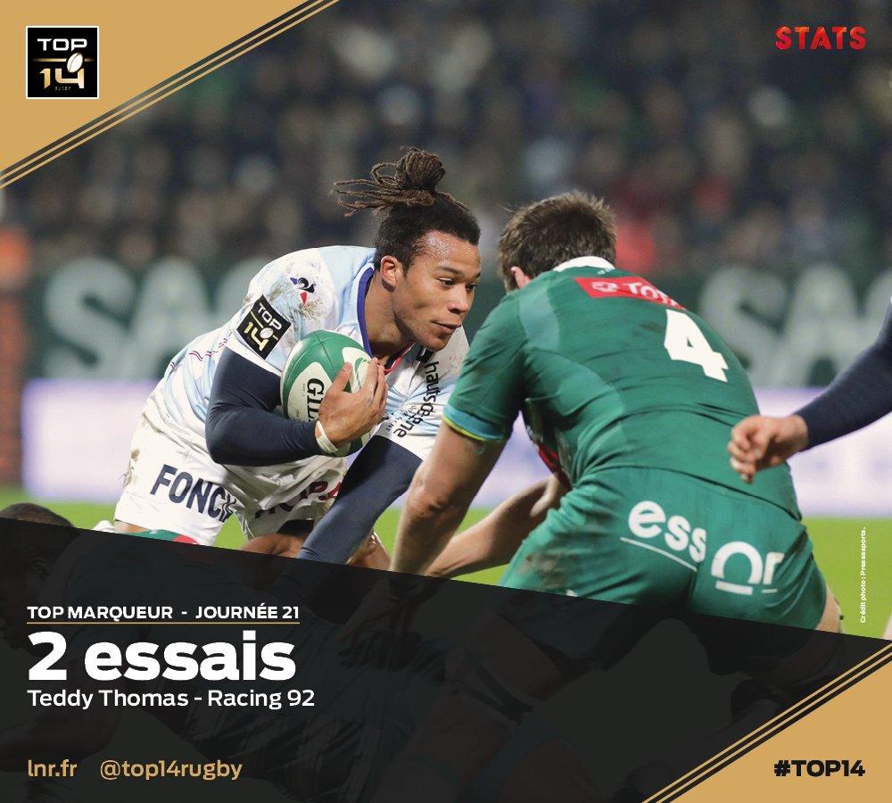 RT @top14rugby: #TOP14, J21  #TopStats ► 2 essais pour @TeddyThoms ce week-end lors de la victoire du @Racing92 dans le derby parisien ! S…