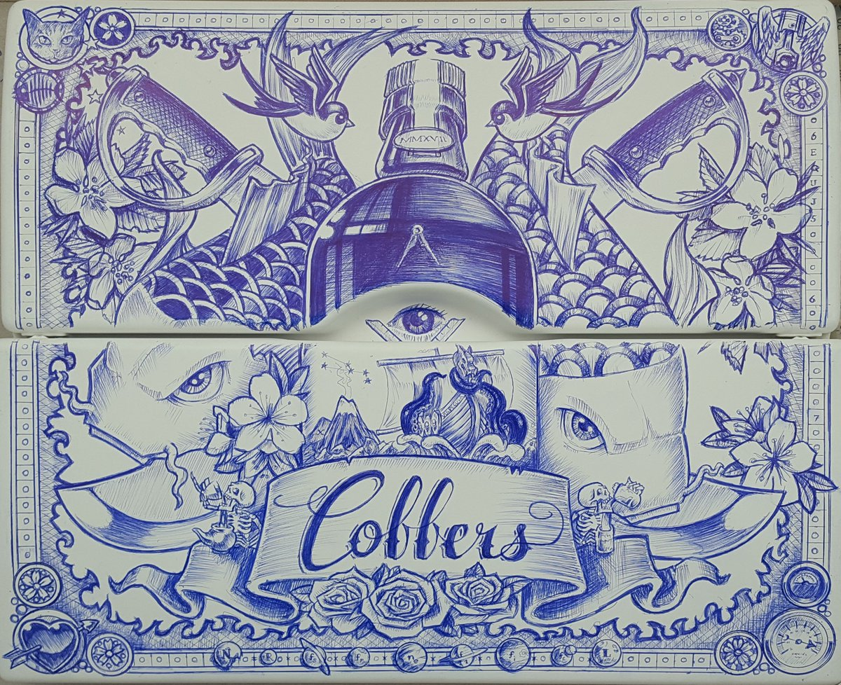 Asked to decorate a fusebox cover in a log cabin that has been converted  into the ultimate garden pub called Cobbers. All done with 1 bic pen.
