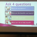 Shared decision making can be achieved with 4 key questions. @RPS_Wales @1000LivesWales