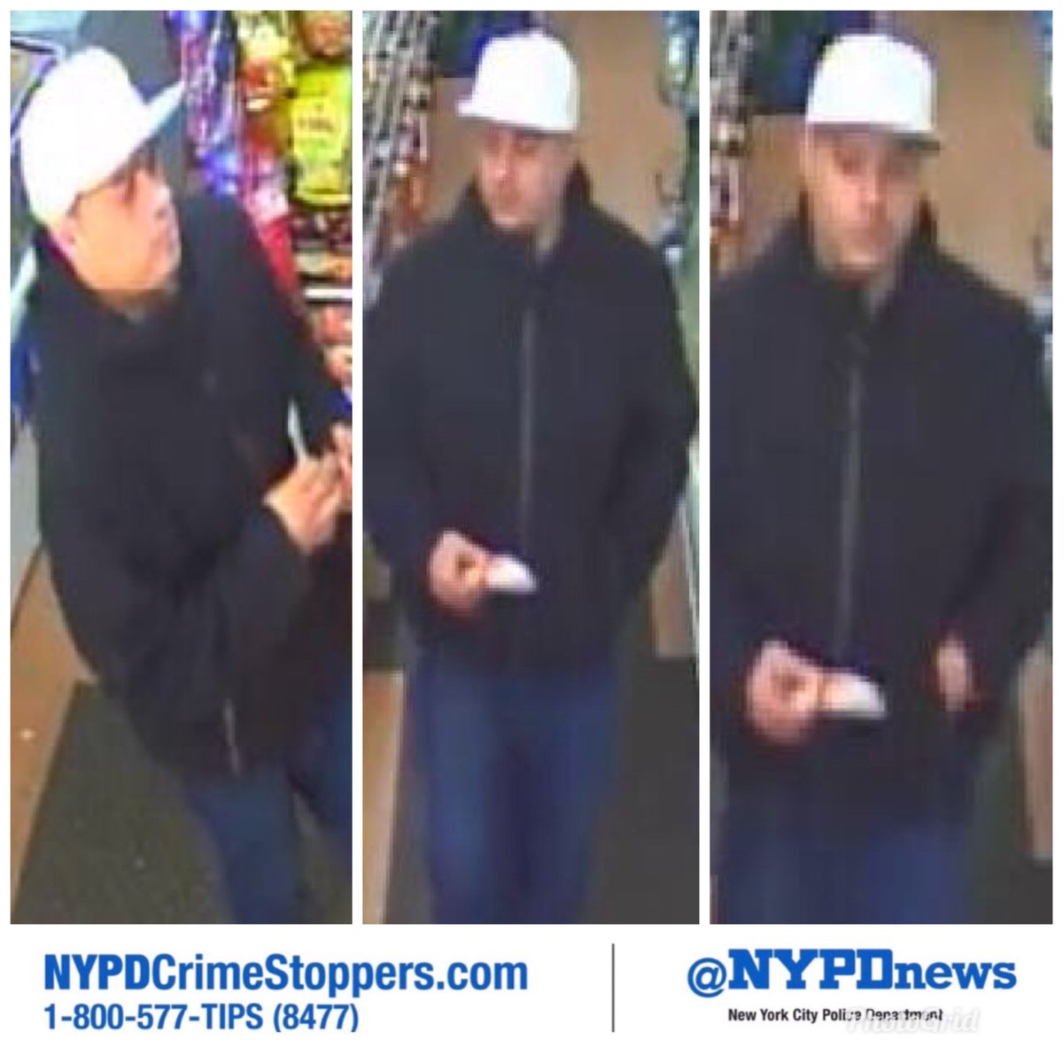 """WANTED: Hispanic male, 5'10"""", for multiple robberies of women in #Manhattan. Help us ID him, ☎️ #800577TIPS"""