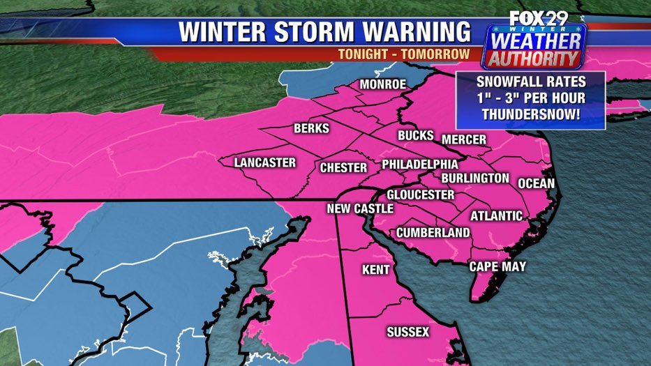 #winterstormwarning beginning tonight. Significant #snow expected. @FOX29philly<br>http://pic.twitter.com/DpcE4UO01C
