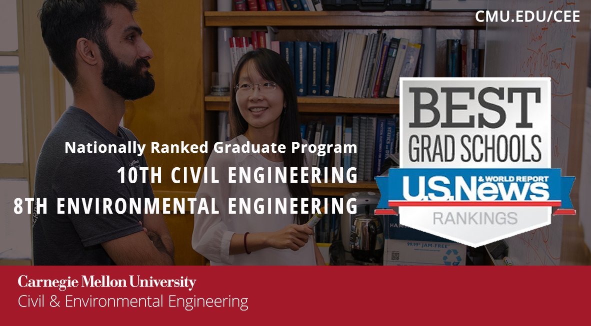 announce that our graduate programs continue to be nationally recognized as a top program for civil and environmental engineering by usnewseducation