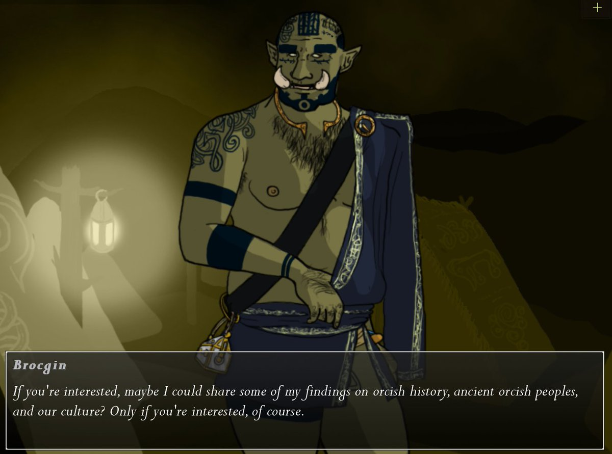 Tusks, the dating sim about otherness and hot, gay orcs