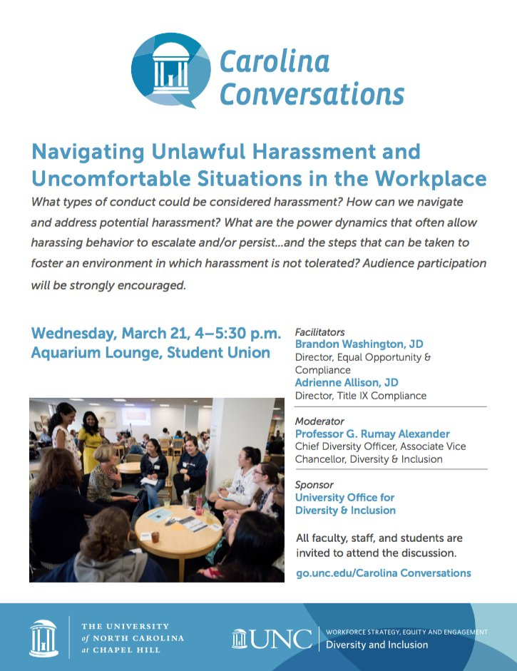 This Wednesday, @UNCDiversity invites students, staff and faculty to an important and interactive discussion on navigating sexual harassment in the workplace. Learn more about this month's Carolina Conversations here: https://t.co/0YwhZ13EmX https://t.co/6AVEG4AhZc