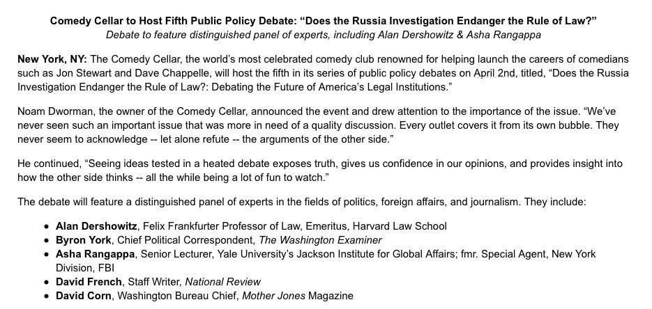 The Comedy Cellar, yes THAT Comedy Cellar, is hosting a serious debate on Russia: