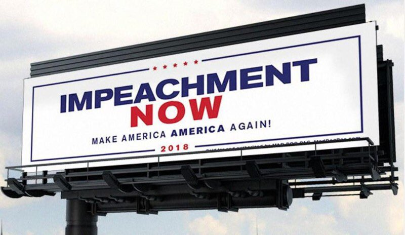 A newly formed anti-Trump PAC is erecting an 'Impeachment Now' billboard like this one along Trump's motorcade route to Mar-a-Lago, PBP reports. pbpo.st/2u5dKSy