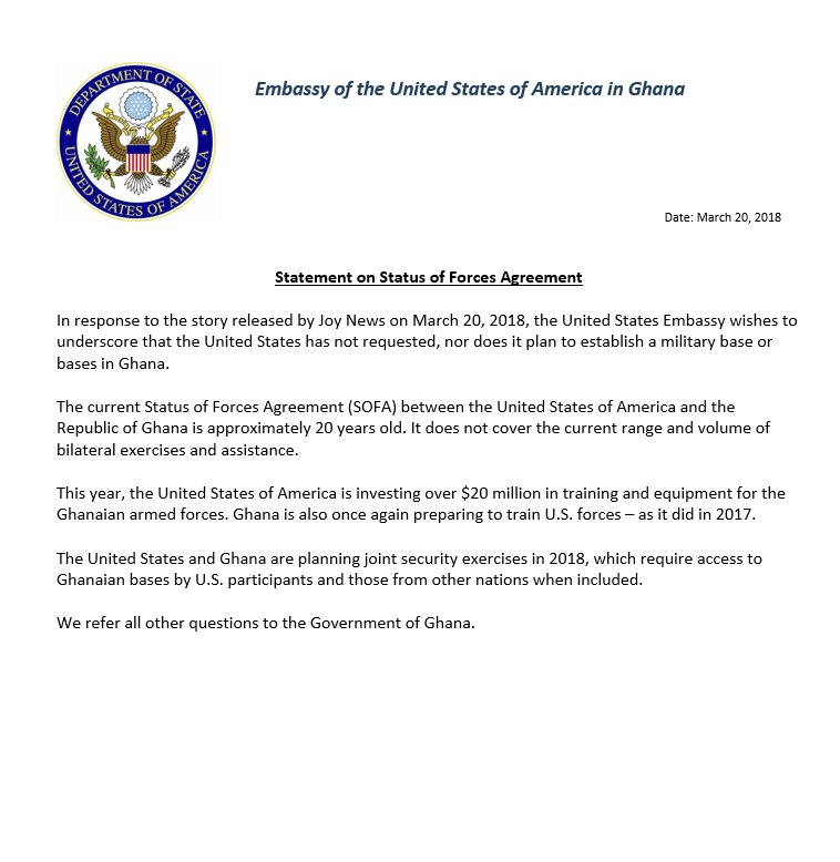 Us Embassy Ghana On Twitter Statement On Status Of Forces